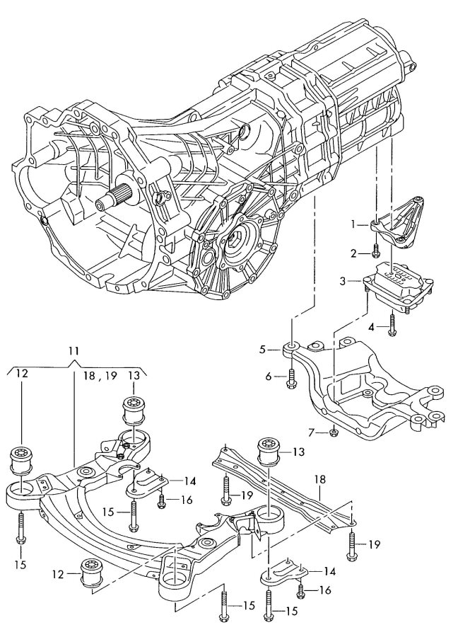 Audi Sub frame mounting parts for engine and transmission