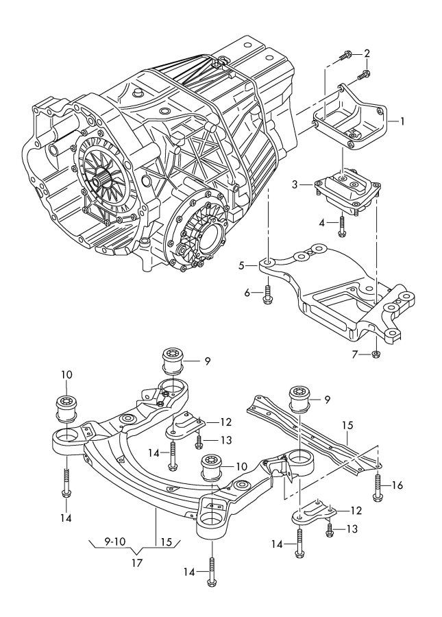 2006 Audi A6 Support for transmission. TRANSMISSION