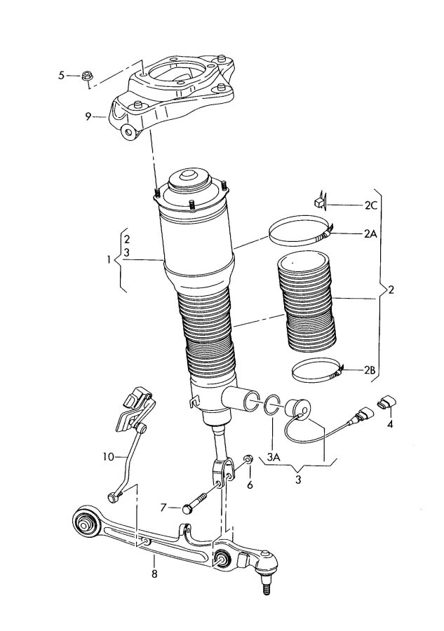 Audi A6 Avant 2.0L Air spring damper see workshop manual