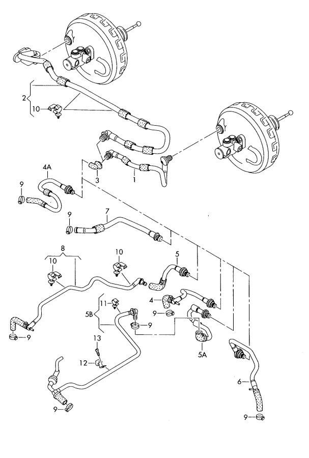 Audi A6 Quattro Vacuum hoses for brake servo