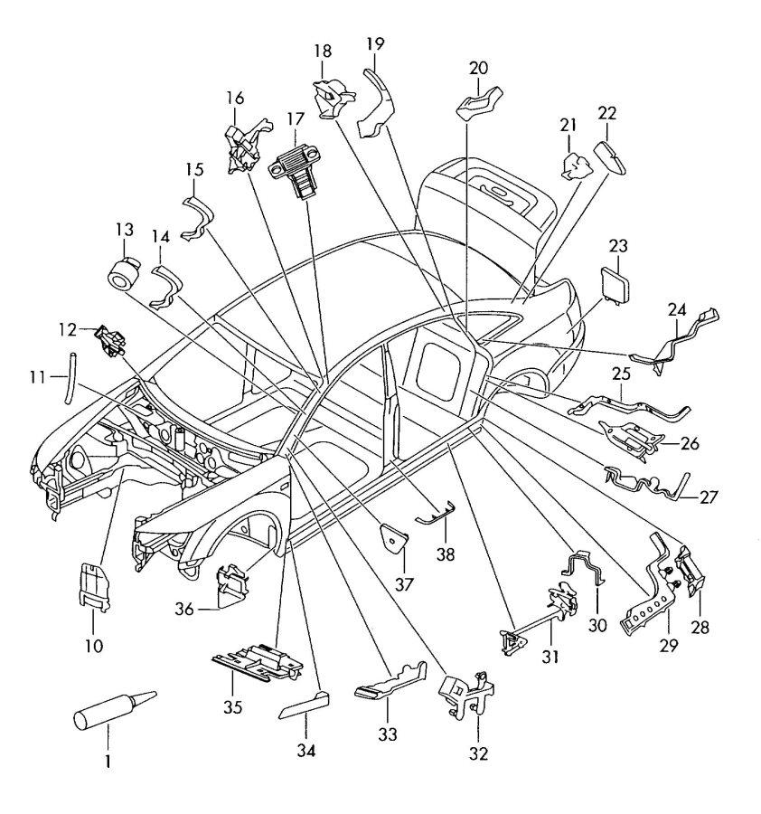 2008 Audi A6 Avant Seal piece pillar c, inner. INNER C