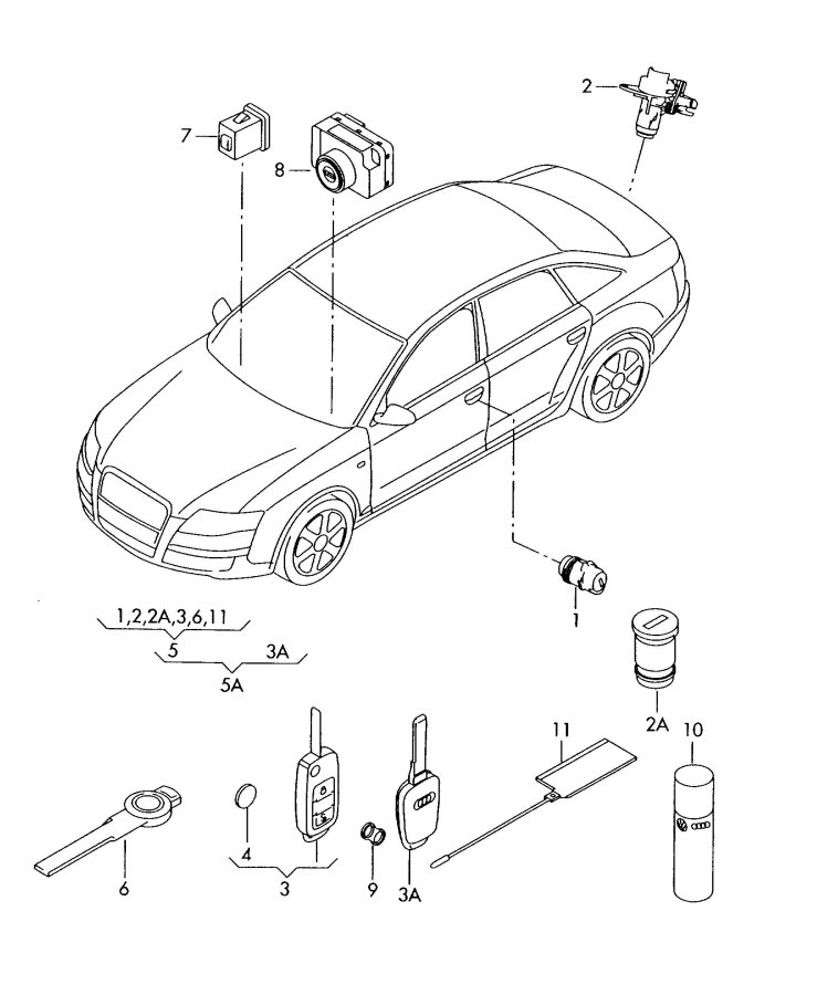Audi RS4 Key ring. Reduced, Transmitting, Panic
