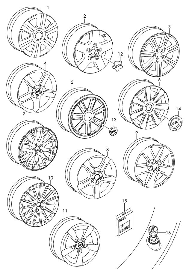 2005 Audi A4 Wheel Center Cap. Grease, Locks, Rim