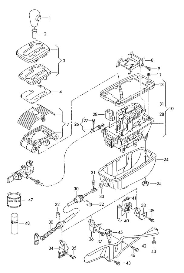 Service manual [2001 Audi A4 Gear Shift Mechanism