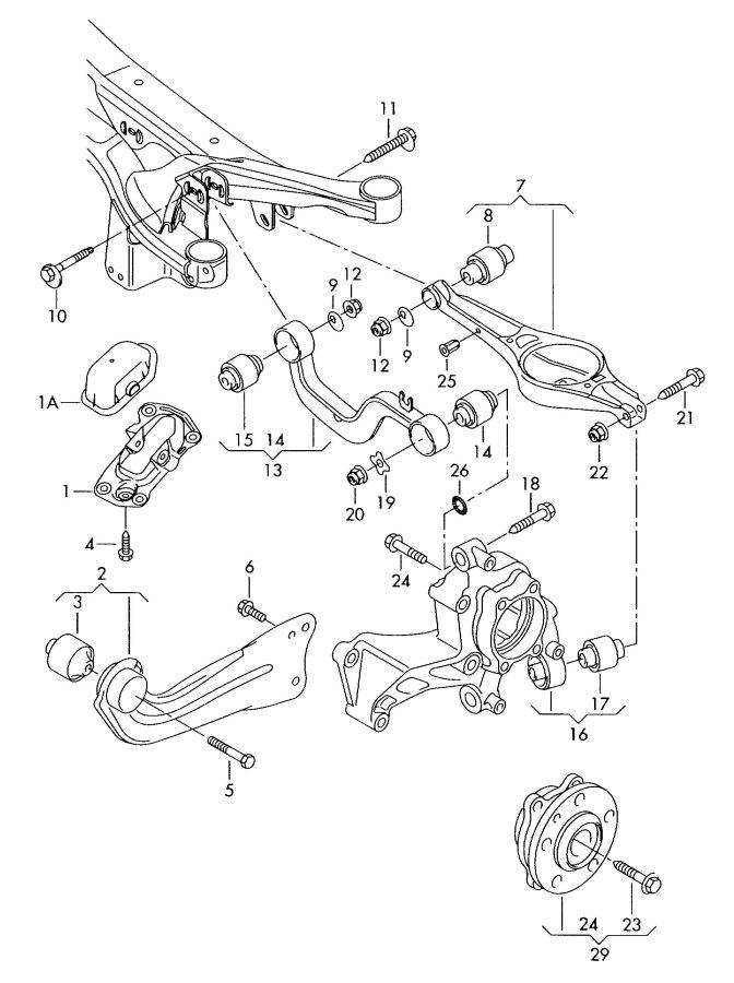 2007 Audi TT Coupe Wheel bearing housing. WHEELBEARING