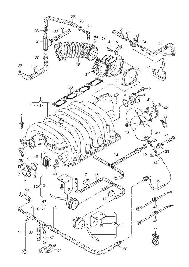 2006 Audi Intake system vacuum system suction pump 4.2ltr.