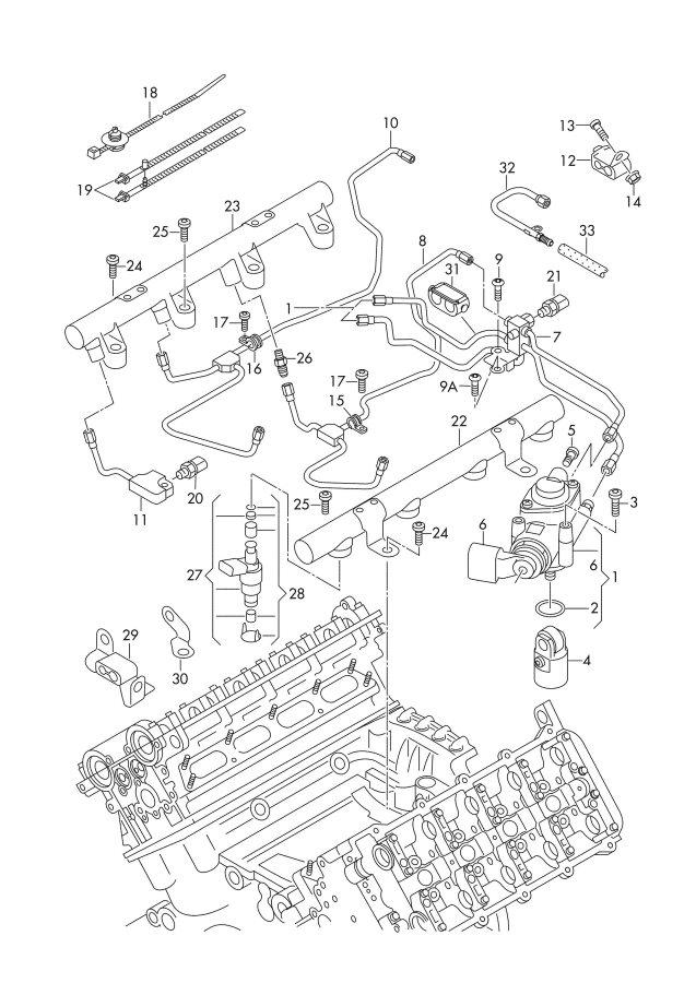 2007 Audi A8 Quattro Fuel rail. FUEL DISTRIBUTOR
