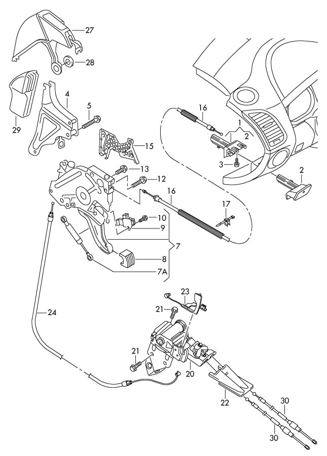 2008 Audi Q7 Shock absorber foot-activated park brk lever