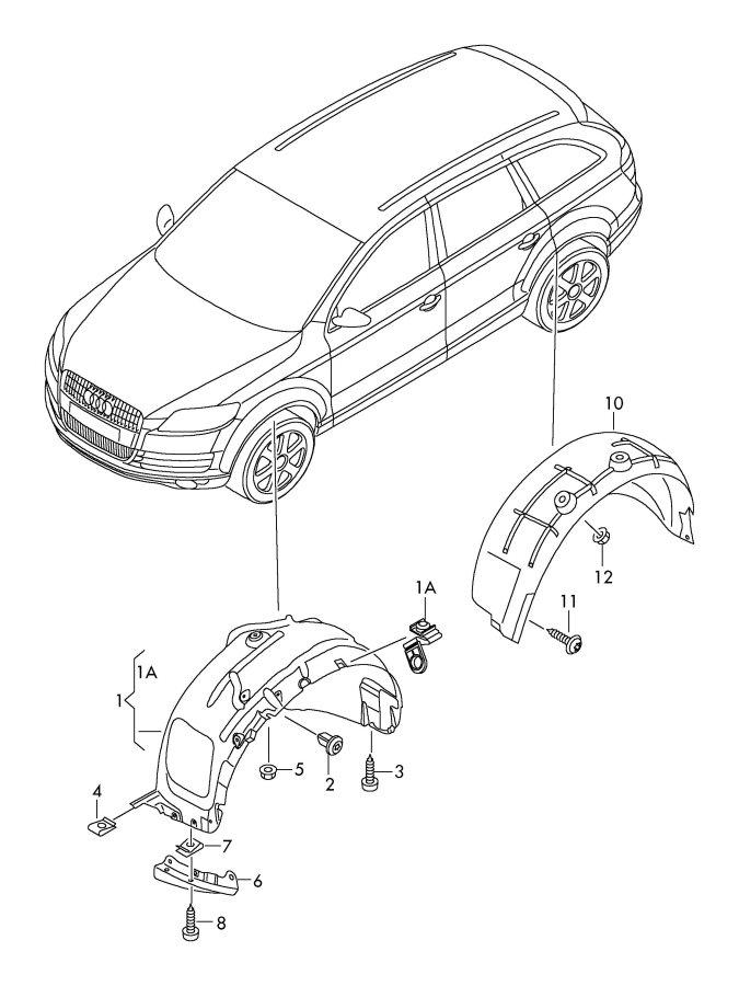 2011 Audi Q7 Wheelhouse protector. WHEEL HOUSING LINER