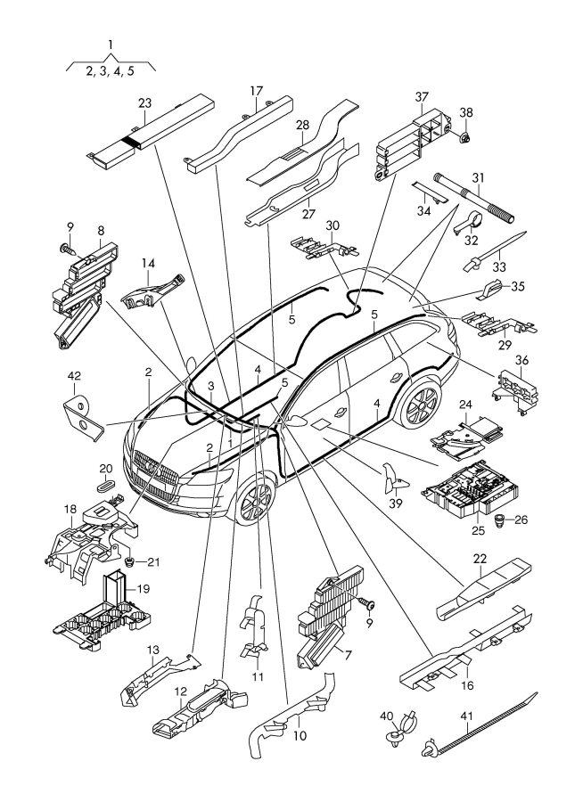 2009 Audi Q7 Wiring conduit convoluted tubing. CORRUGATED