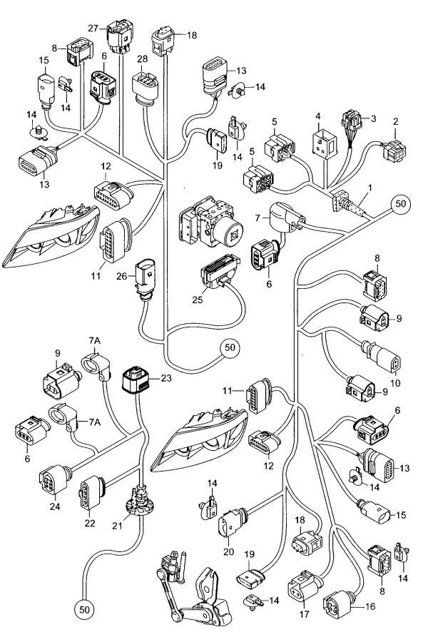 Audi Q7 Connector. Headlight. Housing. Wiring Harness