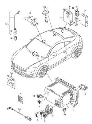 8K0972994  Audi Rear window glass male blade terminal housing leitungssatz fuer as | Jim Ellis