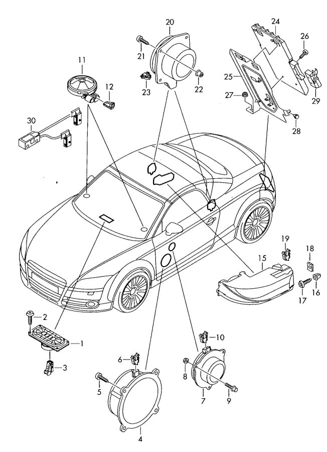 2010 Audi TT Coupe Mid-range speaker. MIDRANGE SPEAKER