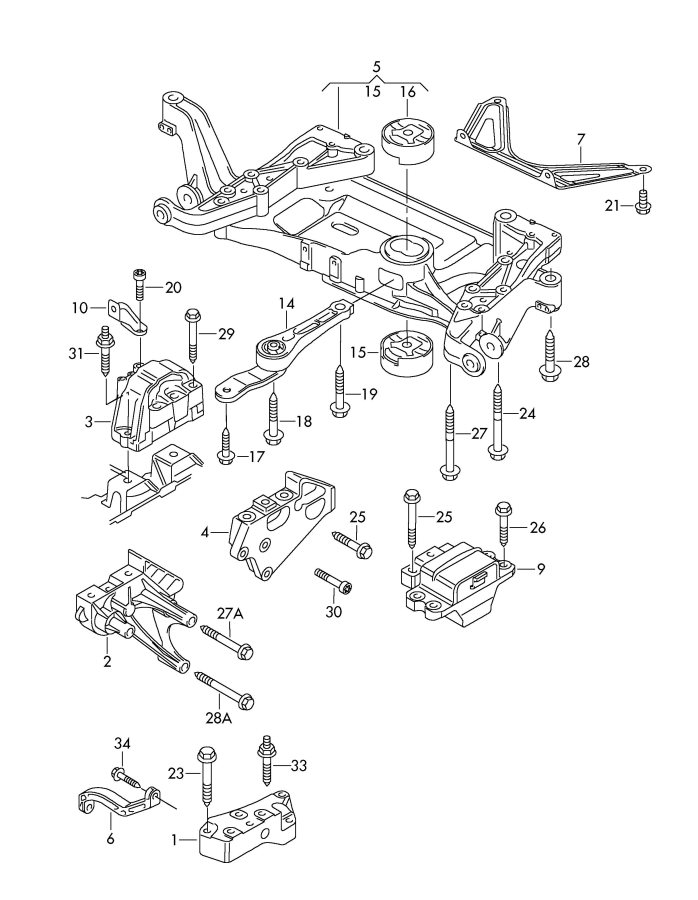 2008 Audi TT Roadster Automatic Transmission Mount Brace
