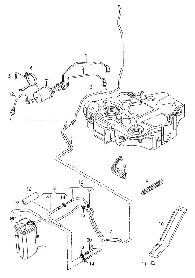 2009 Audi TT Coupe Fuel line with breather and vacuum pipe