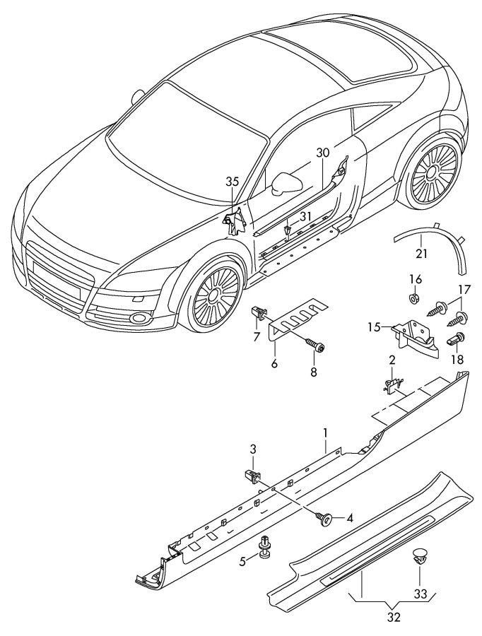2009 Audi TT Coupe Pillar a outer cover. OUTER PILLAR