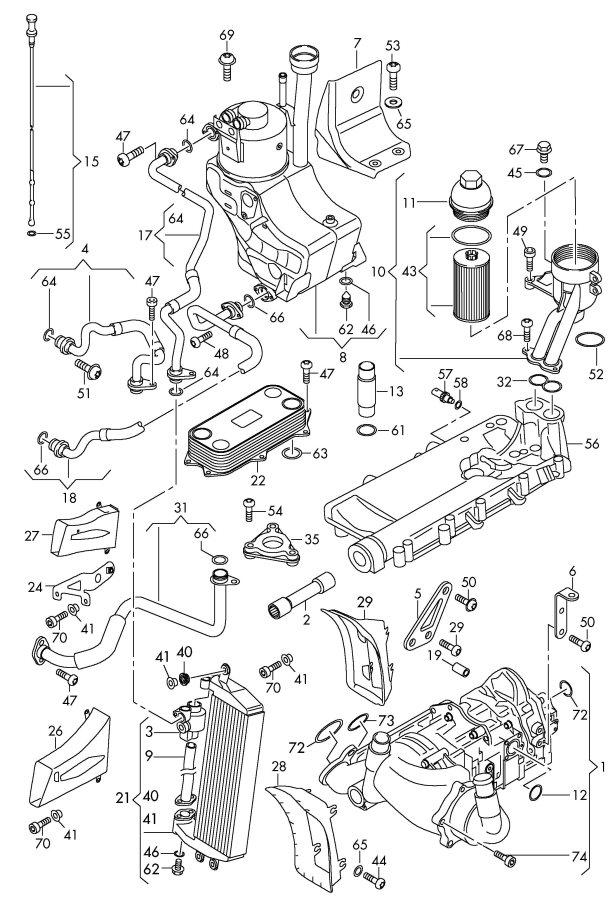 2012 Audi R8 Oil pump oil filter oil filter adapter oil