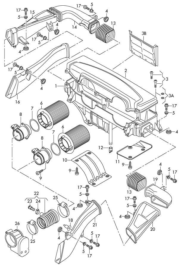 2008 Audi R8 Mass air flow sensor. VOLUME AIR FLOW. AIR