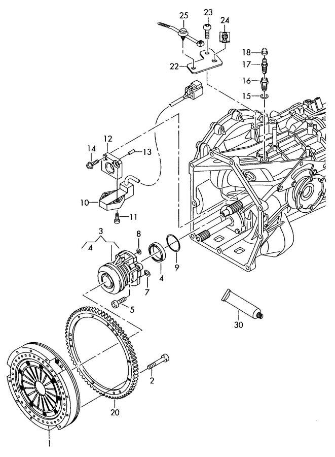 Audi Clutch for 6 speed manual transmiss. semi-automatic