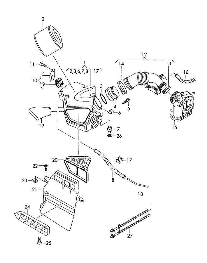 2010 Audi A5 Coupe Mass air flow sensor. Air Meter. Mass