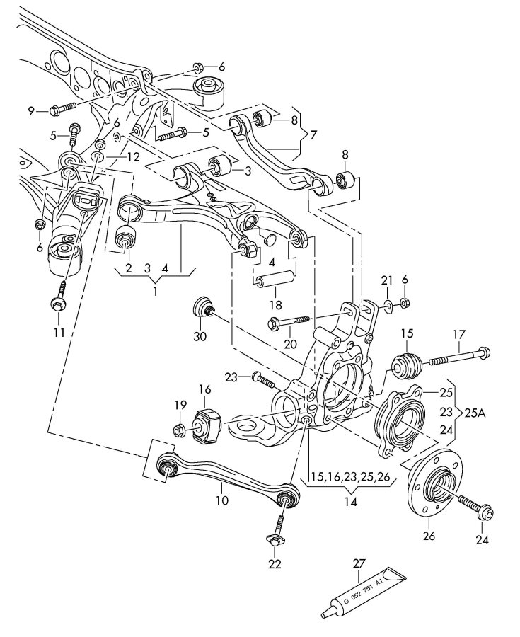 Audi A8 Quattro Ball screw. WTRWGIRLING, WBREMBO