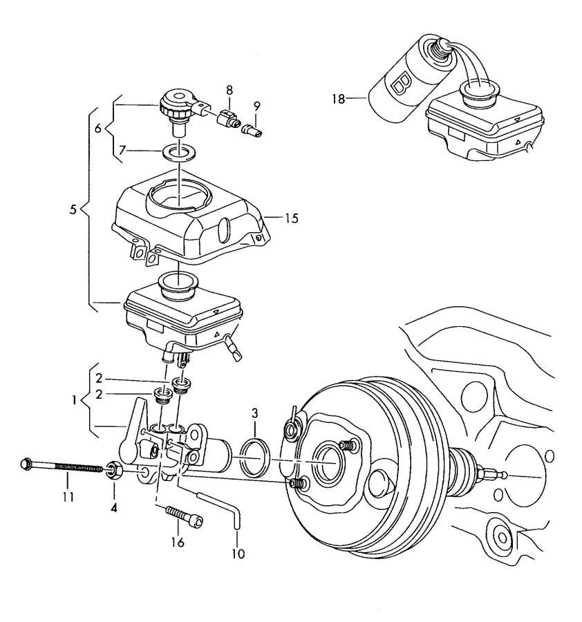 Audi A6 Brake fluid tandem master cylinder reservoir