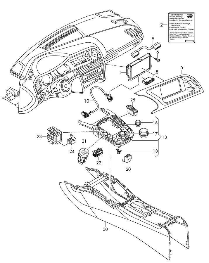 Audi A4 Repair kit for vehicles with joystick. REP KIT