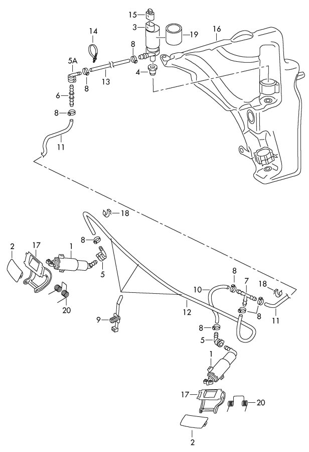 Audi A5 Sportback Pressure cylinder for headlight washer