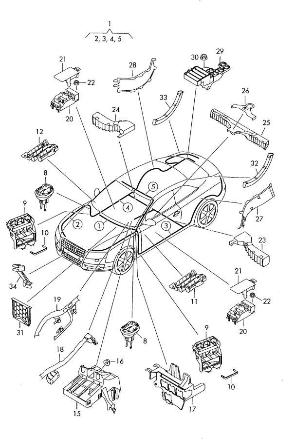 2009 Audi A5 Sportback Wiring conduit bench seat