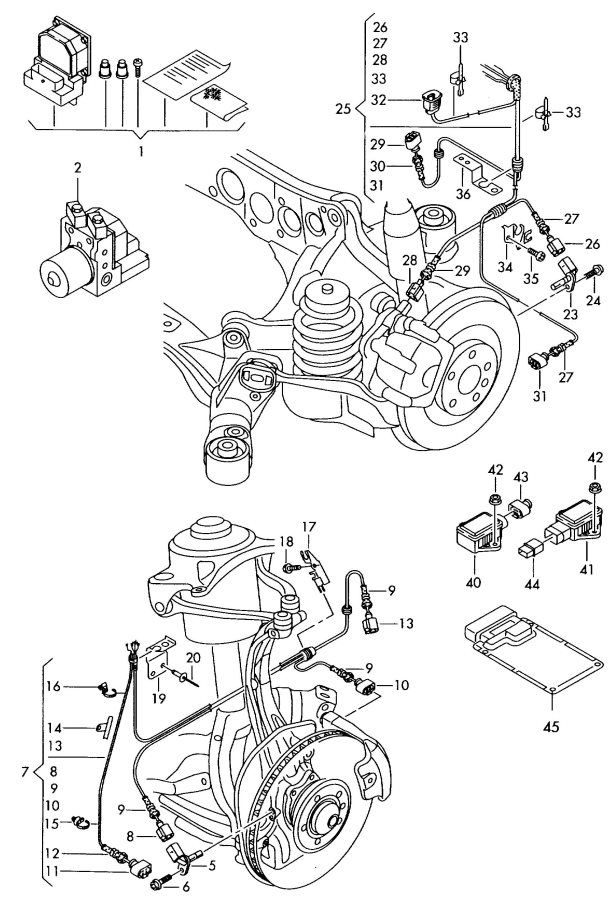 2012 Audi Harness for speed sensor and brake pad wear