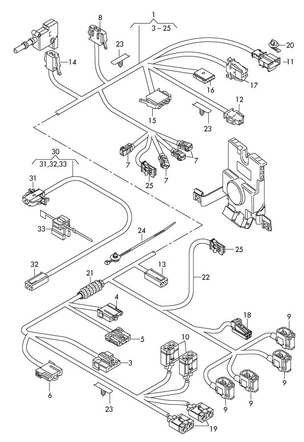 2010 Audi A3 Adapter wiring harness for additional brake