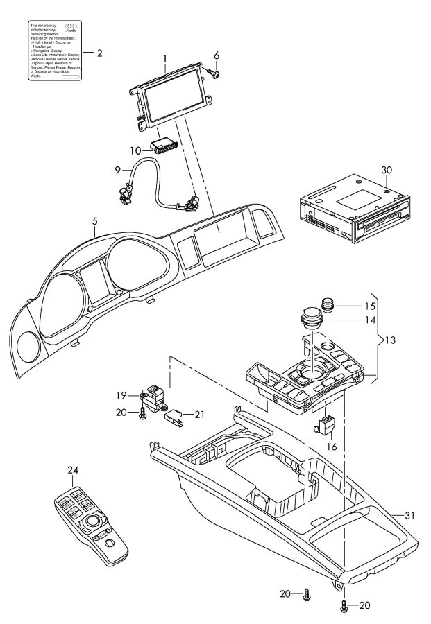 2010 Audi A6 Avant Display unit adapter wiring harness