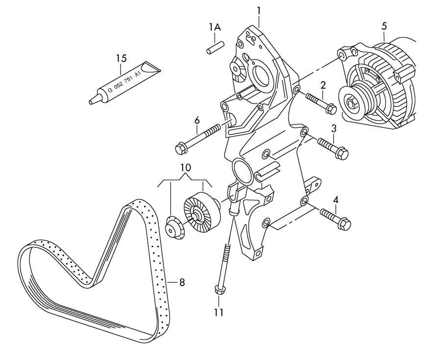 Audi TT Roadster V-ribbed belt. VRIBBED BELT. VBELT