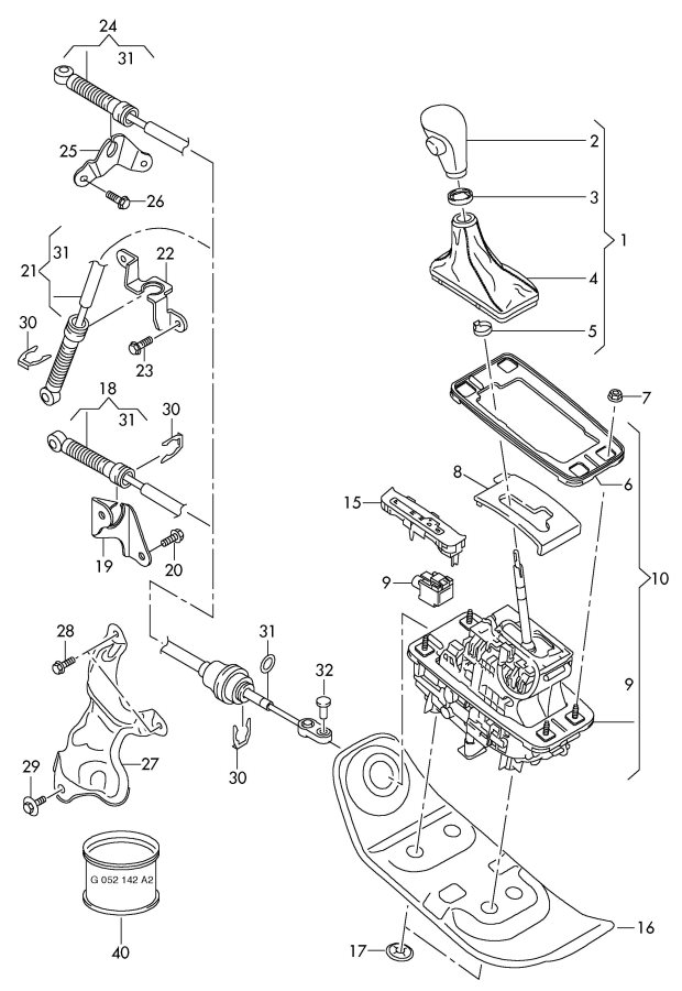 Service manual [1996 Audi Cabriolet Gear Shift Mechanism