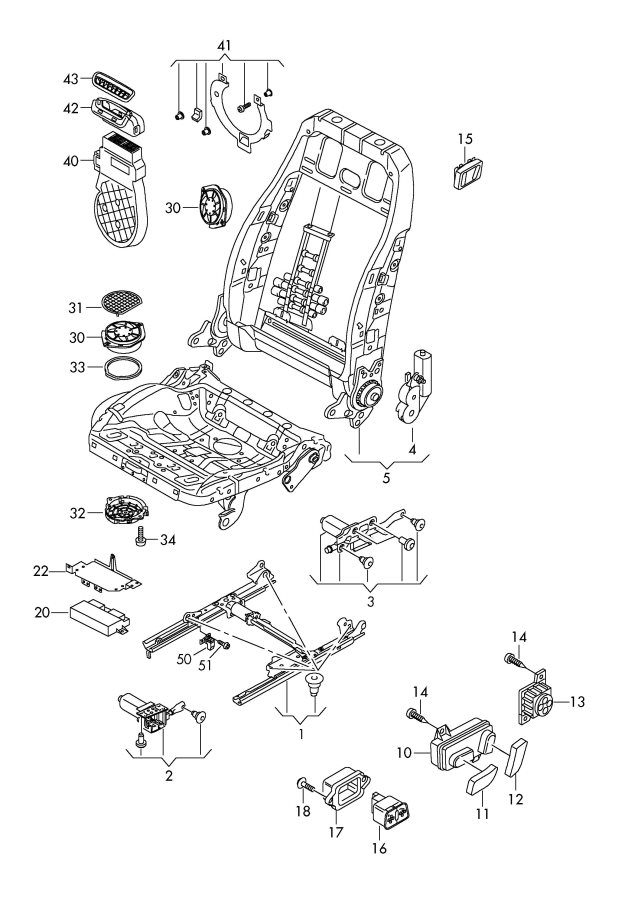 Audi A5 Sportback Electrical parts for seat and backrest