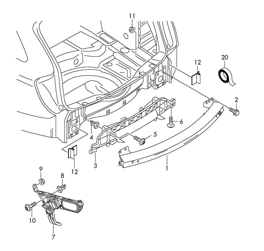 Audi Q7 Spoiler retaining strap. HOLD DOWN STRAP. AIR DAM