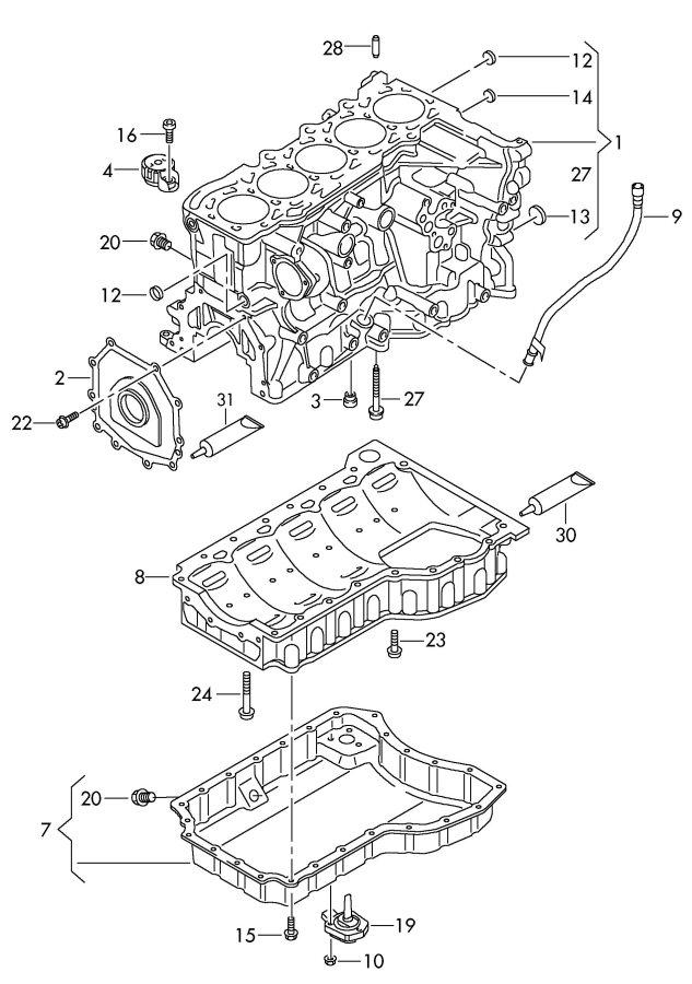 2013 Audi Locking fluid liquid locking fluid guide tube