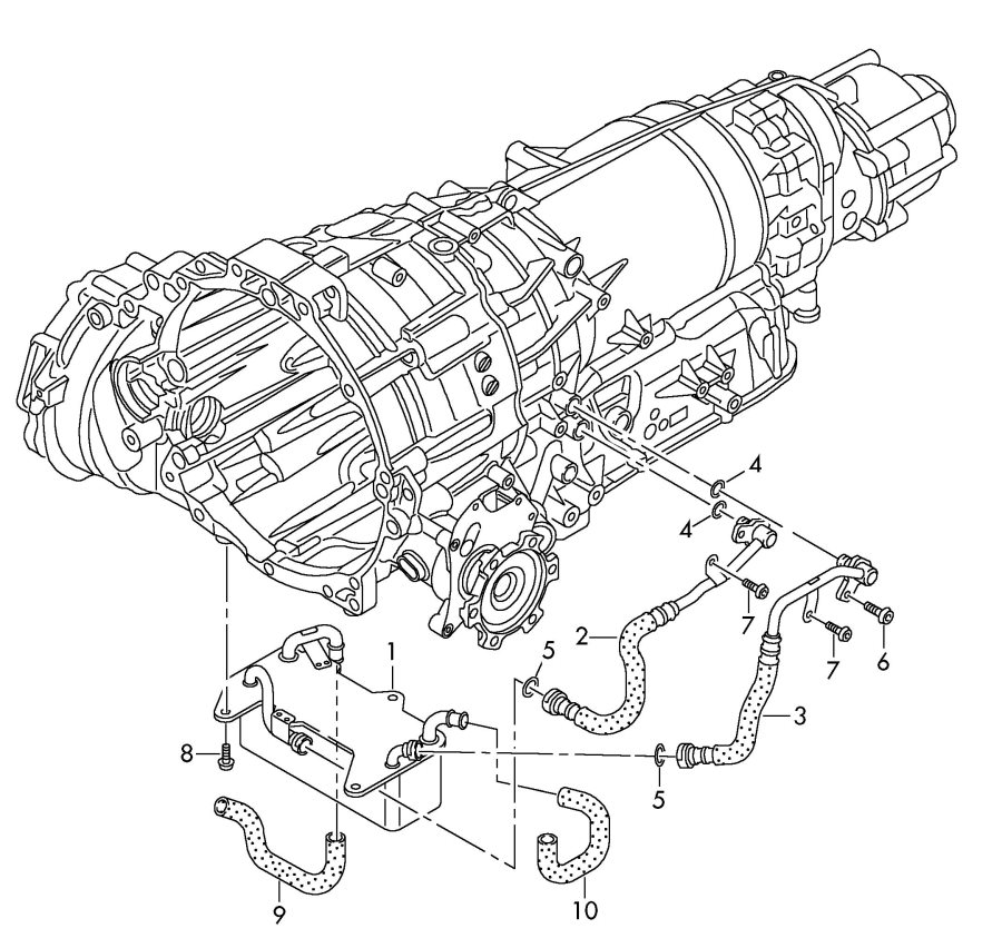 Audi Oil pressure line for gear oil cooling gear oil