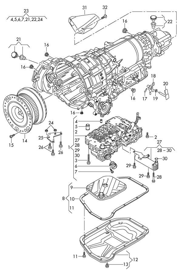 2011 Audi A4 Avant Transmission oil sump. TRANSM. OIL SUMP