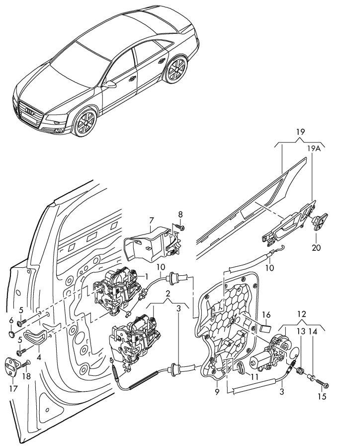 2012 Audi A6 Quattro 2.0L Door latch. Deadlock, Safe