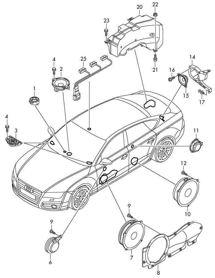2011 Audi A7 Speaker (Rear). Lower, w/Bose audio