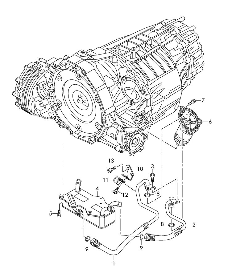 Audi Oil pressure line for gear oil cooling for automatic