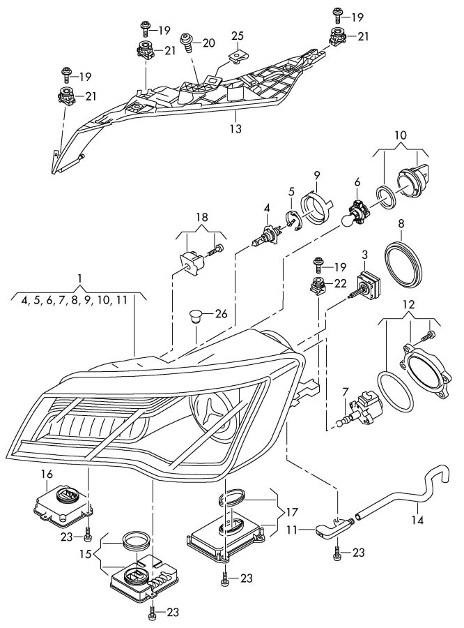 Audi A7 Mounting for headlamps. HEADLIGHT MOUNTING