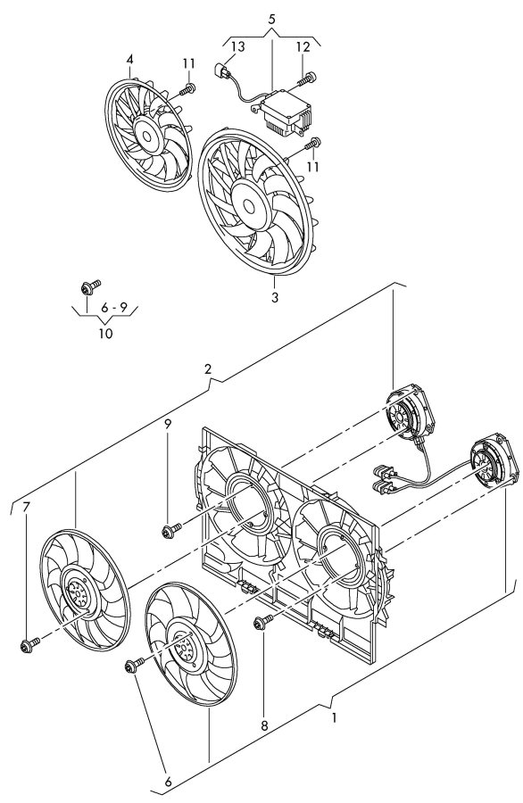 Audi Control unit for radiator electric fan single parts fan