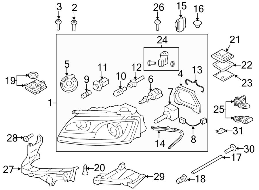 2012 Audi A5 Repair kit for headlamp housing. CONTROL