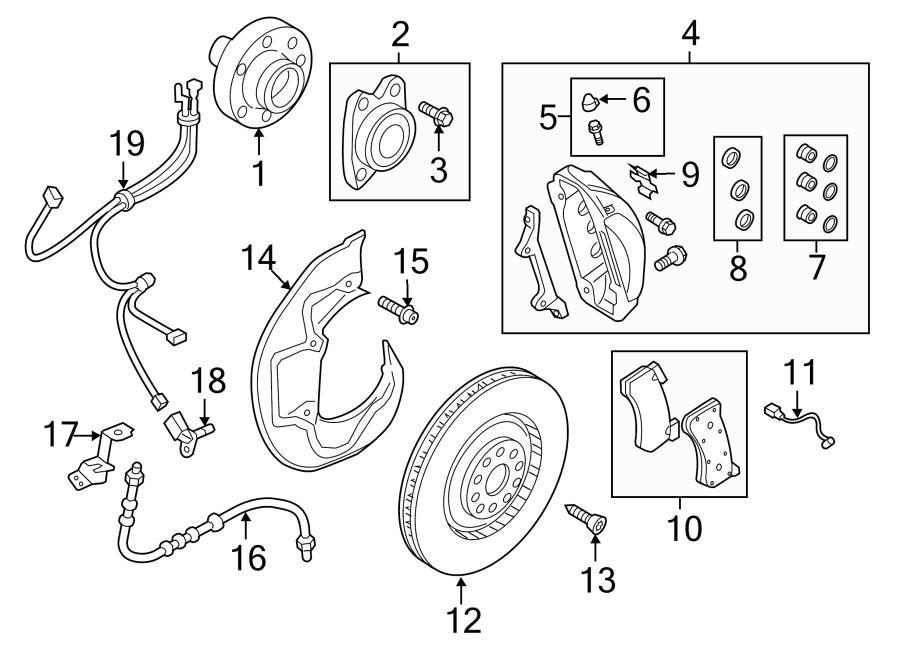 Audi A8 Caliper pin. Disc Brake Anti-Rattle Clip. Retainer
