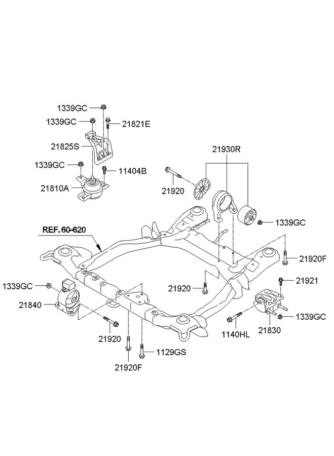 2010 Hyundai Santa Fe ENGINE & TRANSAXLE MOUNTING (3.5L