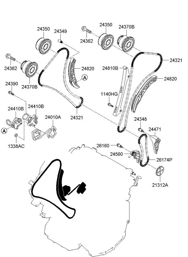 2010 Hyundai Santa Fe Oil control valve, ex right ( right