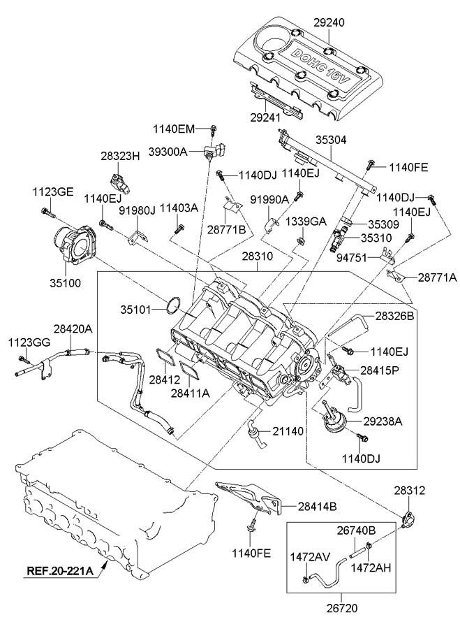 Hyundai INTAKE MANIFOLD (2.4L-THETA2)