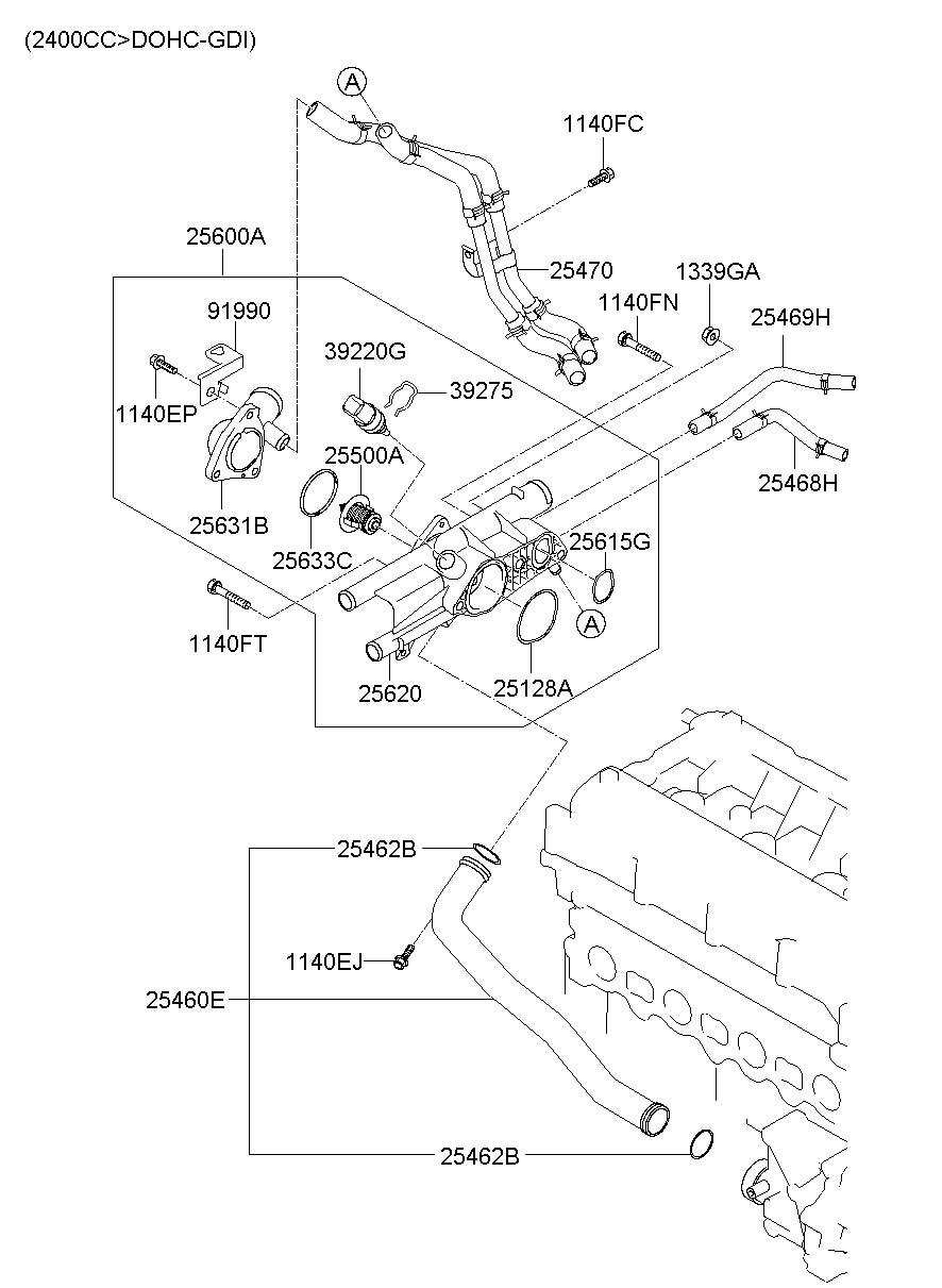 2012 Hyundai COOLANT HOSE & PIPE (2.0L-THETA2)